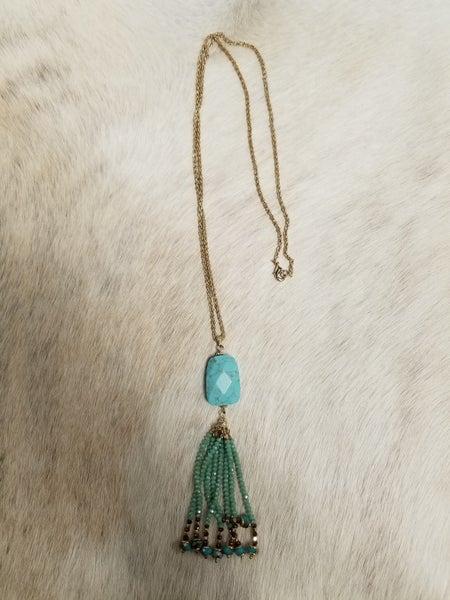 Turquoise Stone Beaded Tassel Necklace