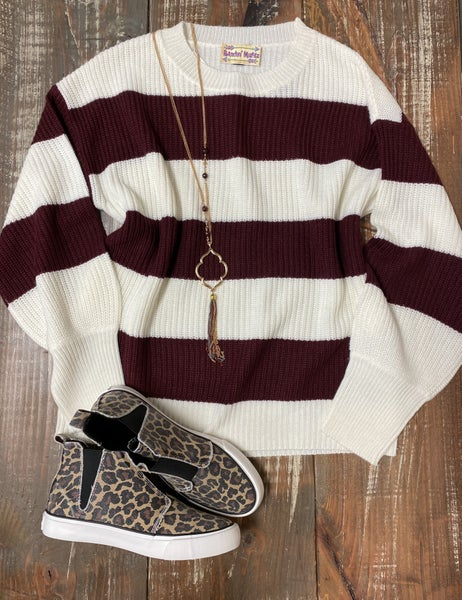 Burgundy & Cream Stripe Sweater