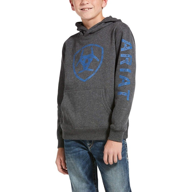 Ariat YOUTH Classic Logo Grey/Blue Hoodie