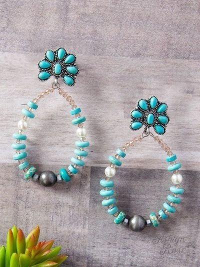 Turquoise Southern Teardrop Flower Earrings
