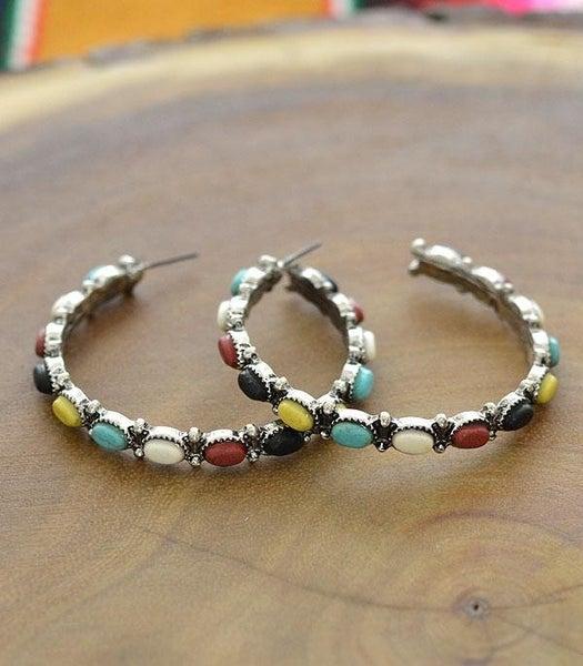 Multi Western Turquoise Hoop Earrings