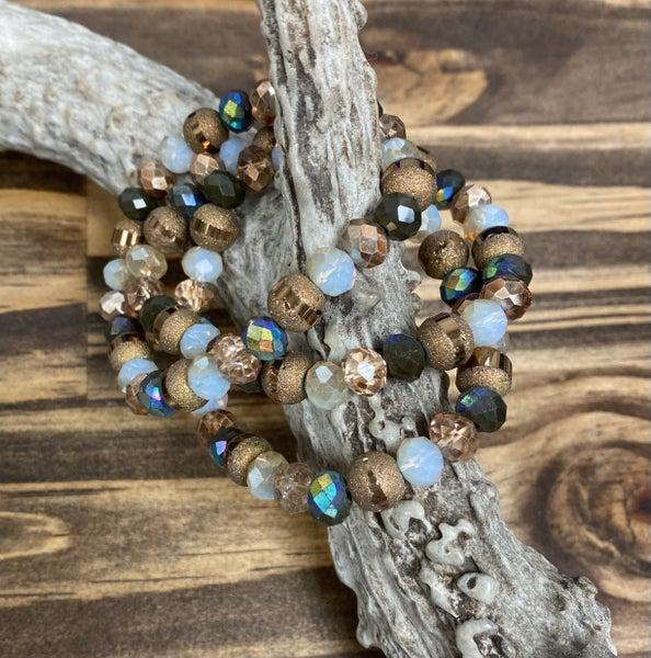 Earth Taupe Stretch Bracelet Set