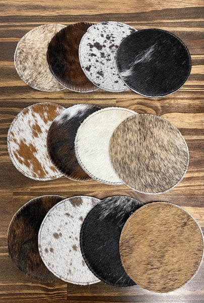 Mixed Cowhide Coasters Set of 4