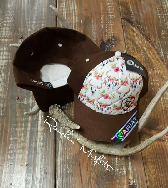 Ariat Ladies Brown Steer and Floral Trucker Hat