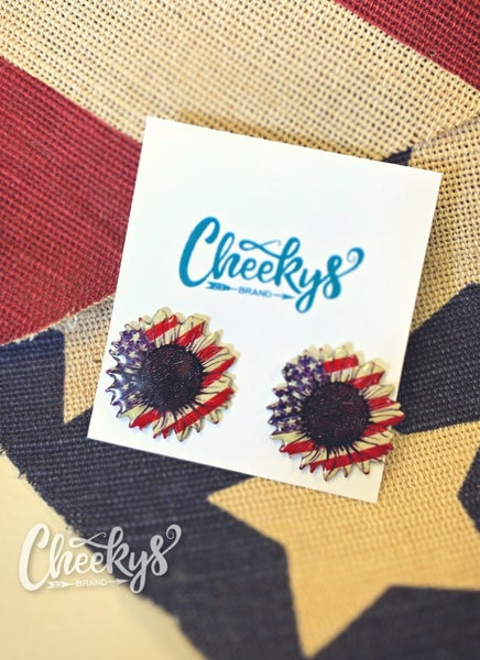 Cheeky's Stars & Stripes Sunflower Earrings