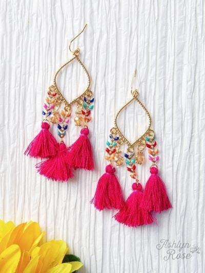 Take Me To Coachella Tassel Earrings *2 Colors*