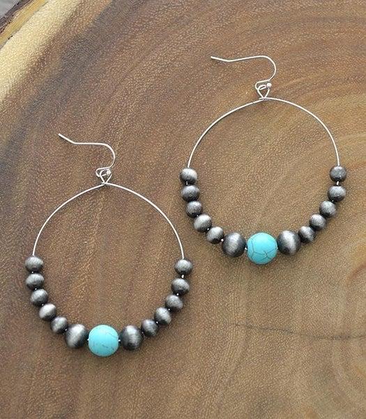 Turquoise Navajo Hoop Earrings