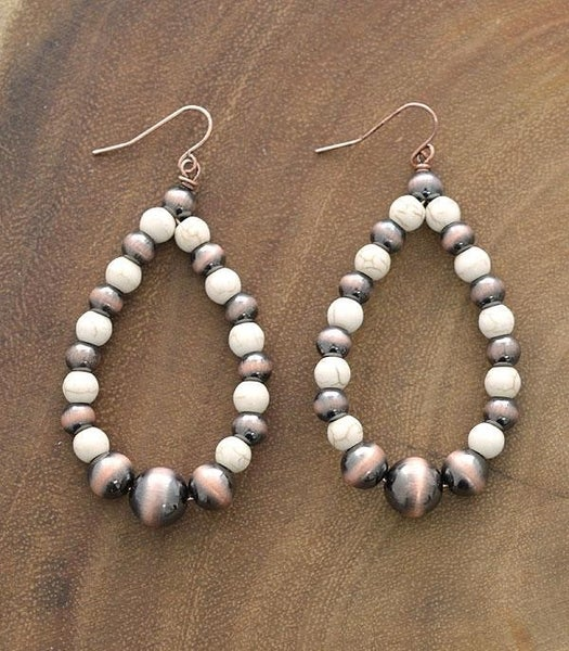 Navajo Pearl & Ivory Stone Teardrop Earrings