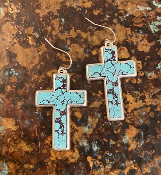 Turquoise Marble Cross Earrings