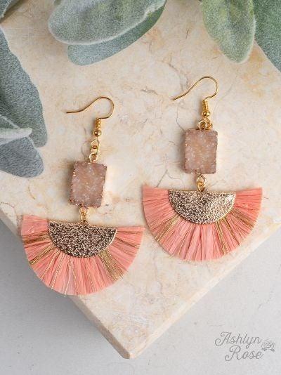 Fan Club Drop Earrings with Druzy Stone *3 Colors*