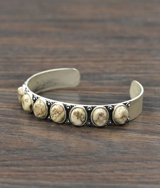 Sydney White Stone Cuff Bracelet
