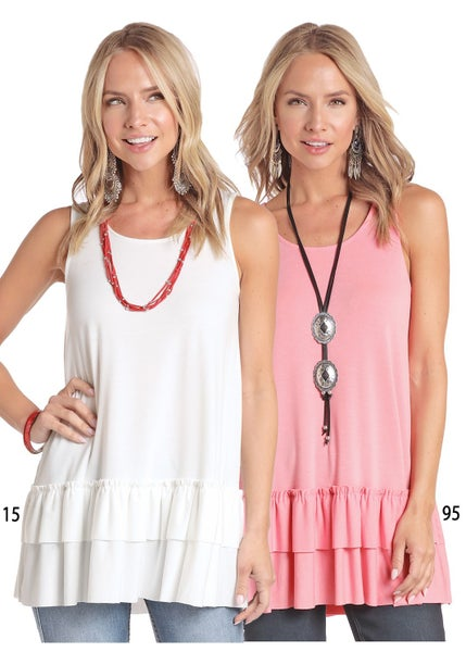 Panhandle Ladies CORAL Ruffle Tank