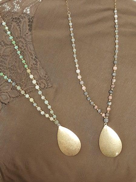 Multi Color with Golden Tear Drop Pendant Necklace