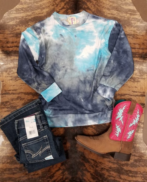 GIRLS Totally Chill Tie-Dye Cool Blue Long Sleeve Tee