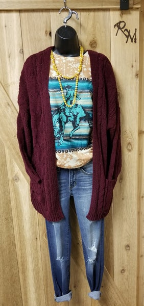 Burgundy Knit Sweater Cardigan