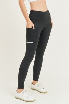 Run The Night Black Leggings with Reflective Stripes