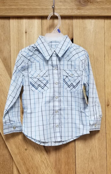 Toddler Soft Blue Plaid Long Sleeve Snap