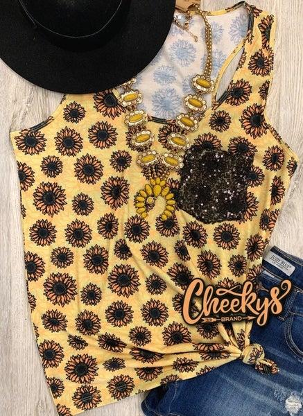 Cheekys  Sunflower Rocker Style Tank with Black Sequin Pocket