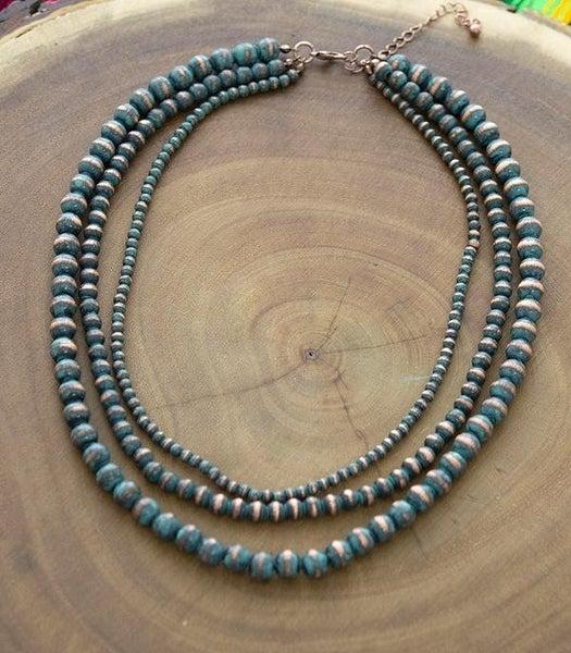 Patina Navajo Pearl Triple Strand Layered Necklace