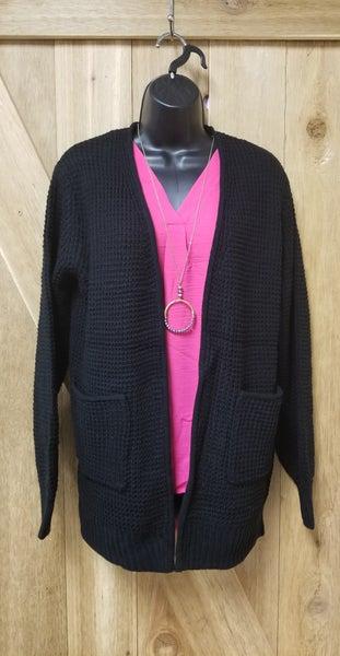 Waffle Cardigan Sweater
