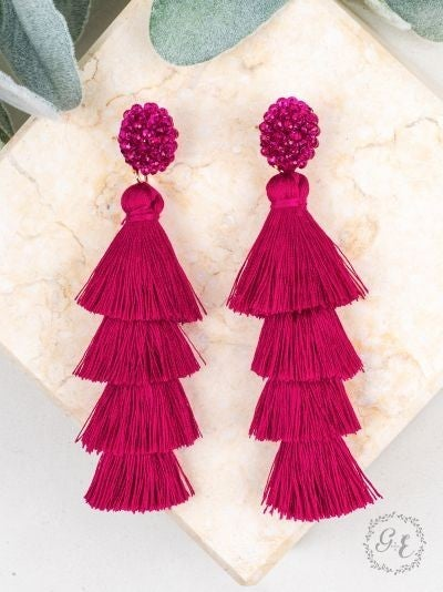 Queen of the Tassel Fuchsia Earrings