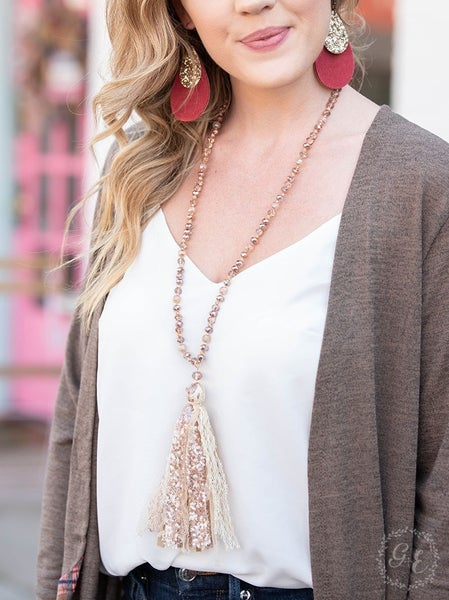 Dreaming of You Rose Gold Tassel Necklace