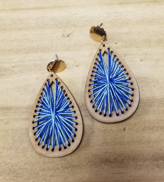 Blue Web Teardrop Earrings