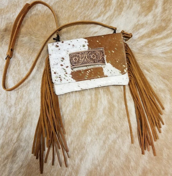 AD Brown/White Gold Acid Wash Hair on Hide Clutch/Crossbody