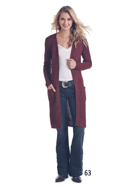 Panhandle Burgundy Sweater Cardigan