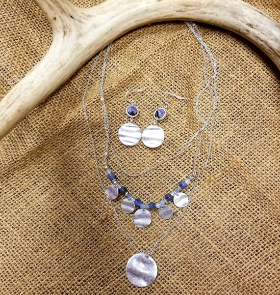 Triple Strand Blue Stone & Disc Jewelry Set