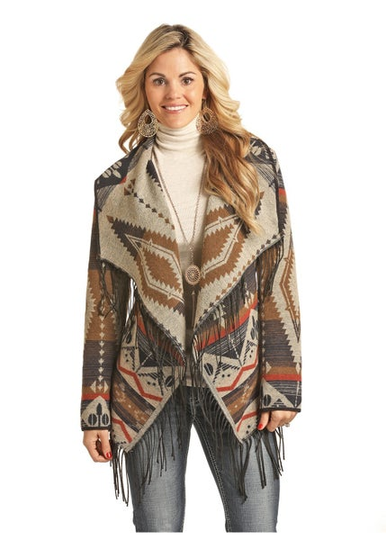 Powder River Pecos Southwest Fringe  Wool Jacket