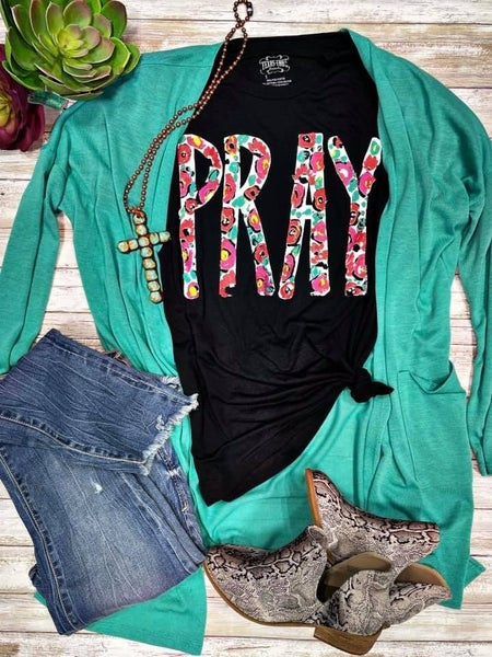 Texas True Pray Tee & Mint Cardigan
