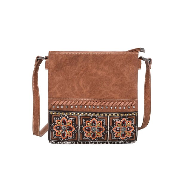 Montana West Embroidered Collection Concealed Carry Crossbody- Brown