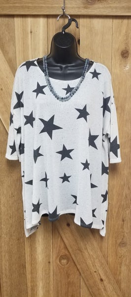 Ivory Confetti Charcoal Star Light Weight Sweater