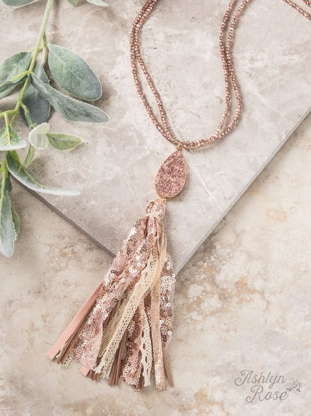 Living in Luxury Beaded Tassel Necklace