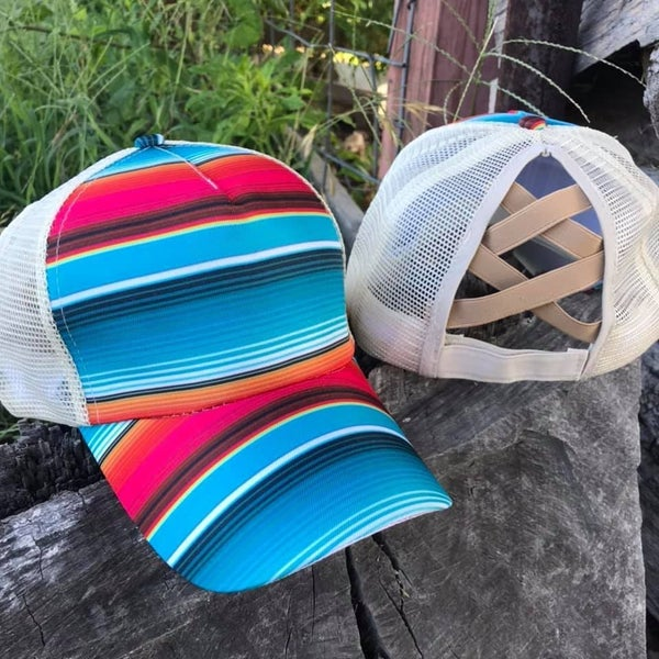 Serape Criss Cross Back Cap