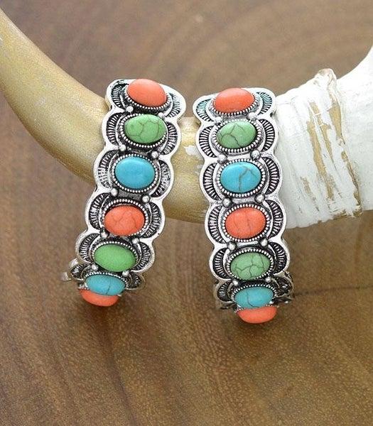 Western Turquoise Half Hoop Earrings