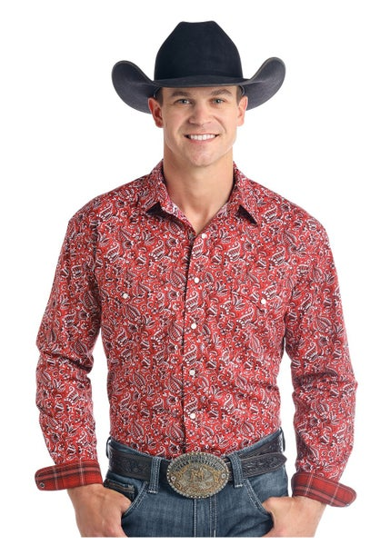 Panhandle Men's  Red Paisley Long Sleeve Snap