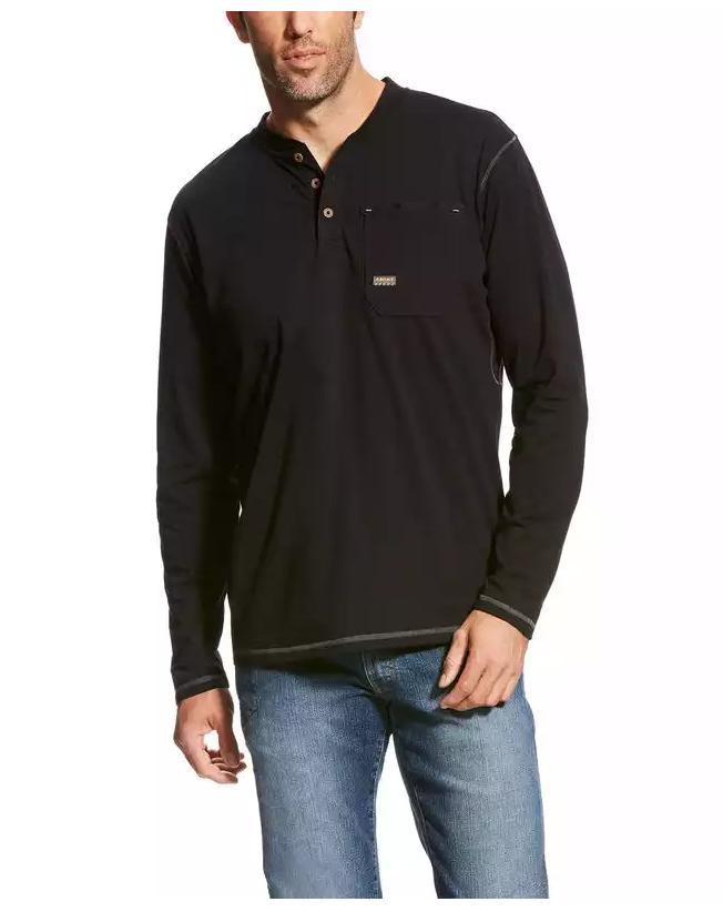 Ariat Men's Black Rebar Pocket Henley Top