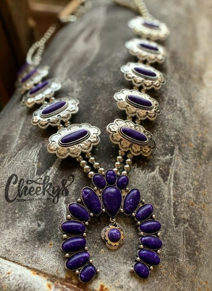 Cobalt Blue & Silver Patsy Squash Blossom Necklace & Earrings