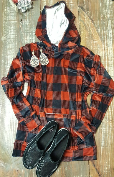 Crazy Train Mountain Top Velvet Buffalo Plaid Hoodie