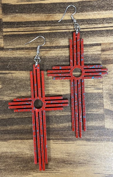 Crazy Train Carrying Your Love With Me Cross Earrings