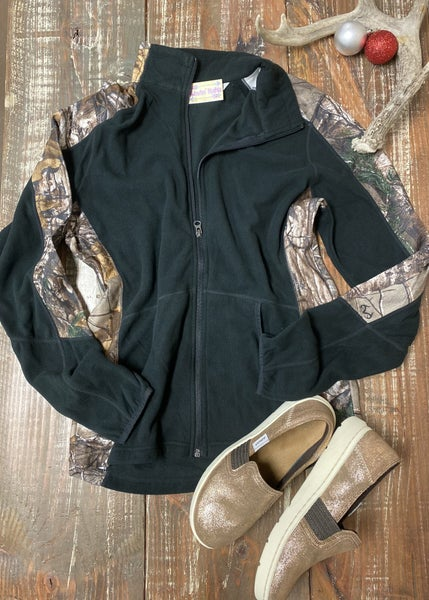 Women's Black & Camo Full Zip Lightweight Fleece Jacket