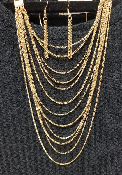 Gold Multi Strand Layered Necklace & Earrings Set