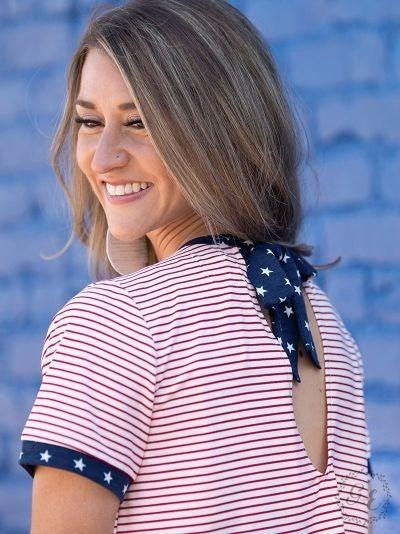 Pretty Patriot Striped Top with Star Ringer Trim
