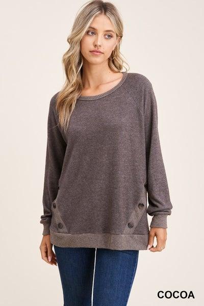 Round Neck Button Detailed Sweater