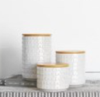 LARGE WHITE DOT CANISTERS
