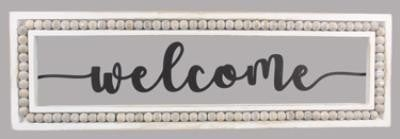Wood Framed Laser Cut Metal Welcome with Blessing Bead Accent