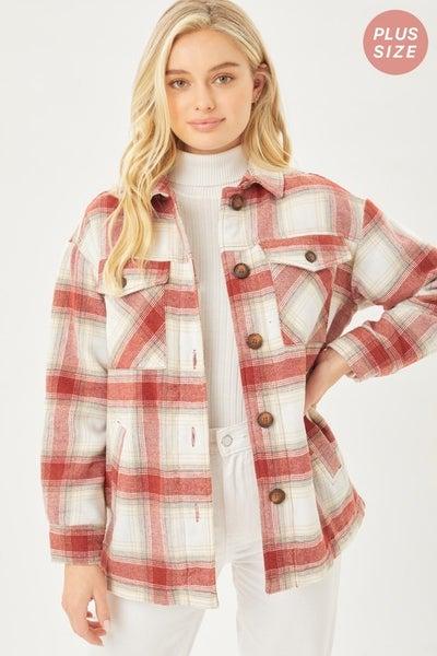 Curvey Plaid Fleece Lined Jacket