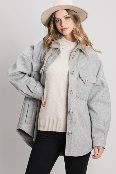Poly Button Shacket